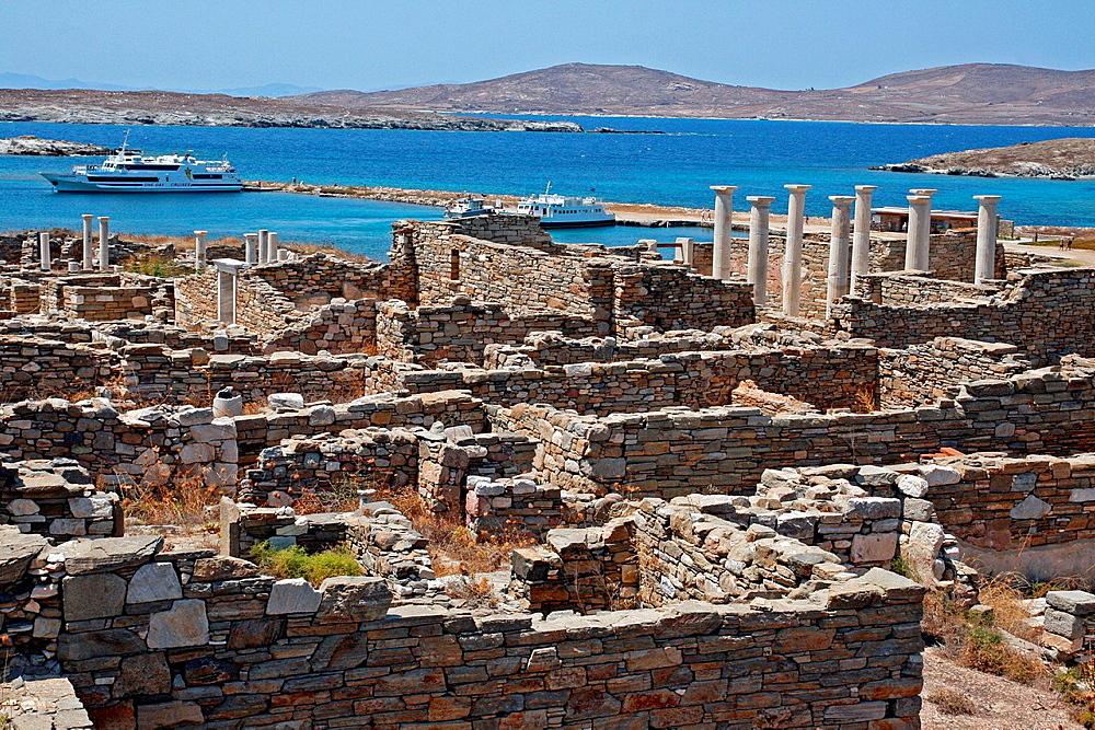 archaeological ruins, Delos, Greece. archaeological ruins, Delos, Greece