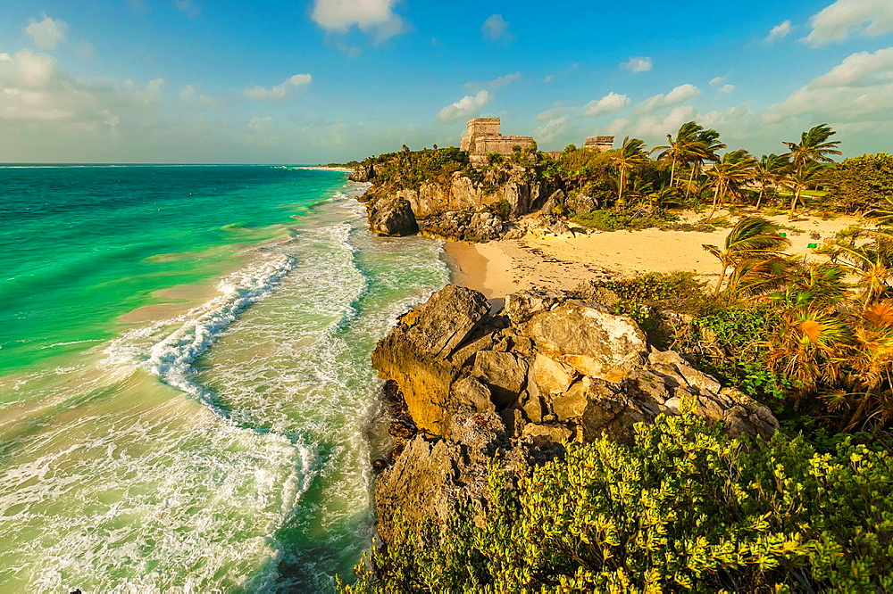 El Castillo The Castle at Tulum, which is the site of a Pre-Columbian Maya walled city serving as a major port for Coba on the Caribbean Sea, Riviera Maya, Mexico