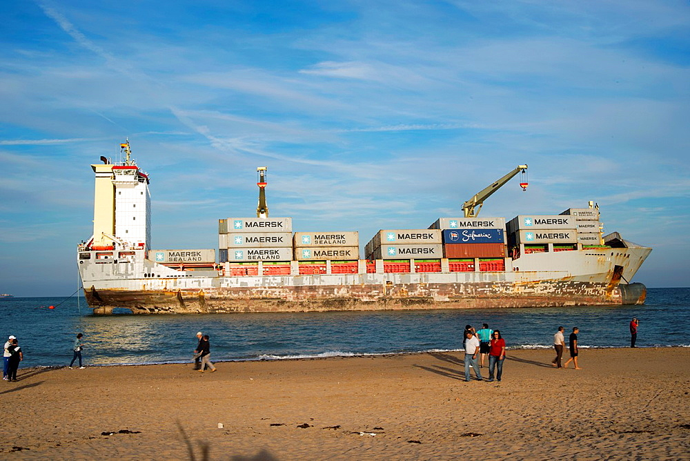People come to Saler for vessels stranded on the sand, El Saler, Valencia, Spain, Europe