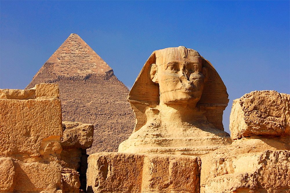 The Great Sphinx and Pyramid of Chefren, Giza, Egypt
