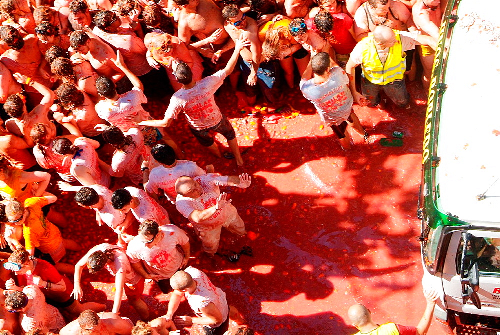 the Tomatina of Bunol, Comunitat Valenciana, Spain, Europe