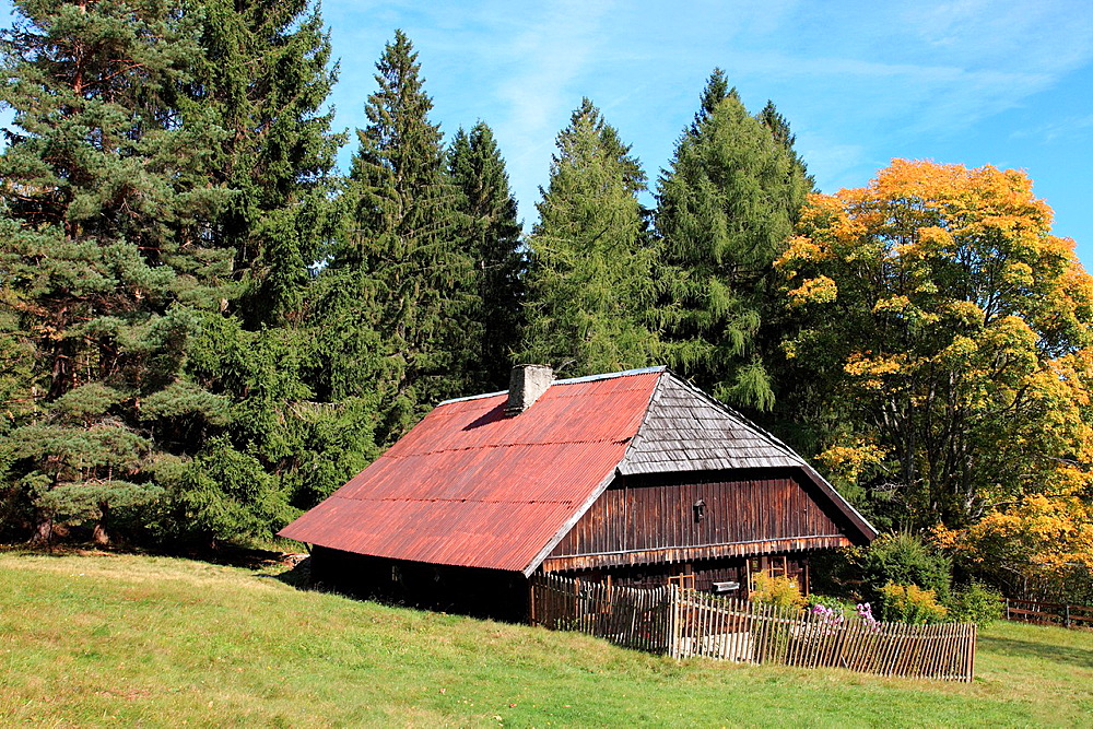 traditional old farmhouse at the village Srni, German: Rehberg, Bohemian Forest, National Park Sumava, Czech Republic, Europe