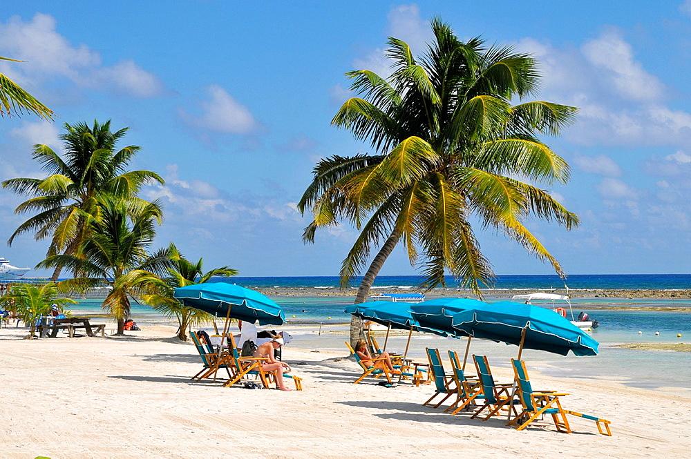 Chairs and Umbrellas Costa Maya Mexico Beach Caribbean Cruise Ship Port