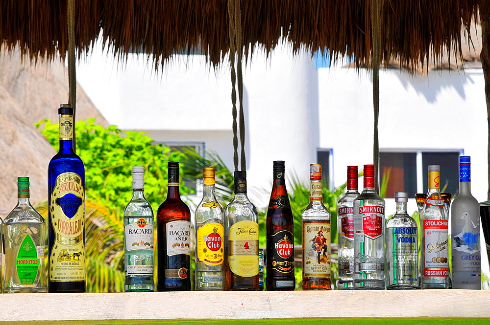 Liquor display Costa Maya Mexico Beach Caribbean Cruise Ship Port