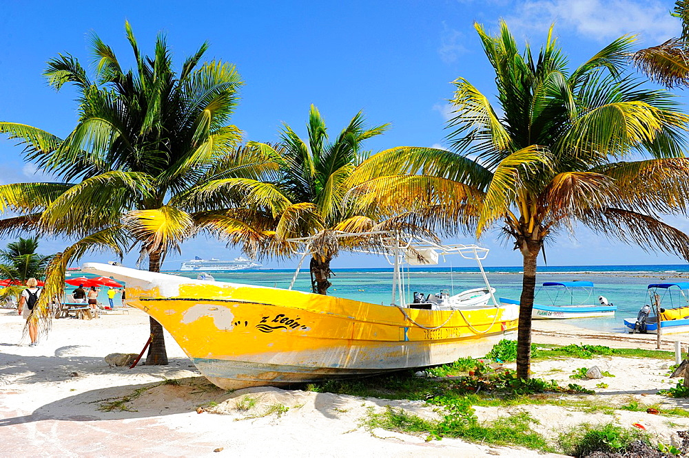 Yellow Boat Costa Maya Mexico Beach Caribbean Cruise Ship Port