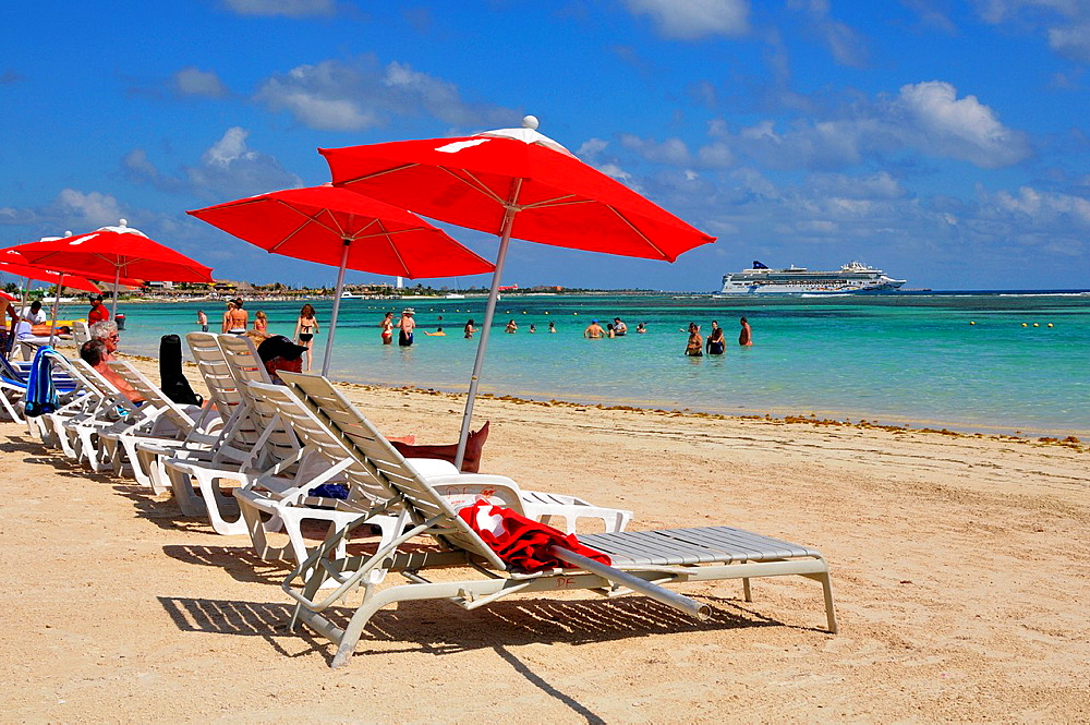 Red Umbrellas Costa Maya Mexico Beach Caribbean Cruise Ship Port