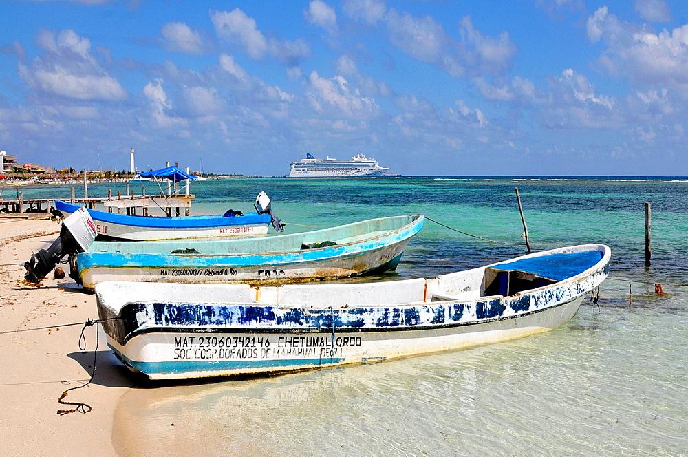 Fishing Boats Costa Maya Mexico Beach Caribbean Cruise Ship Port