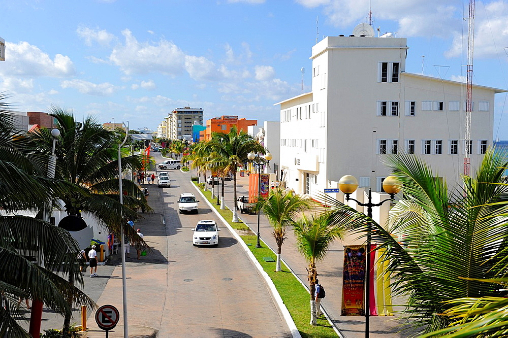 Traffic along Frontage Street Cozumel Mexico