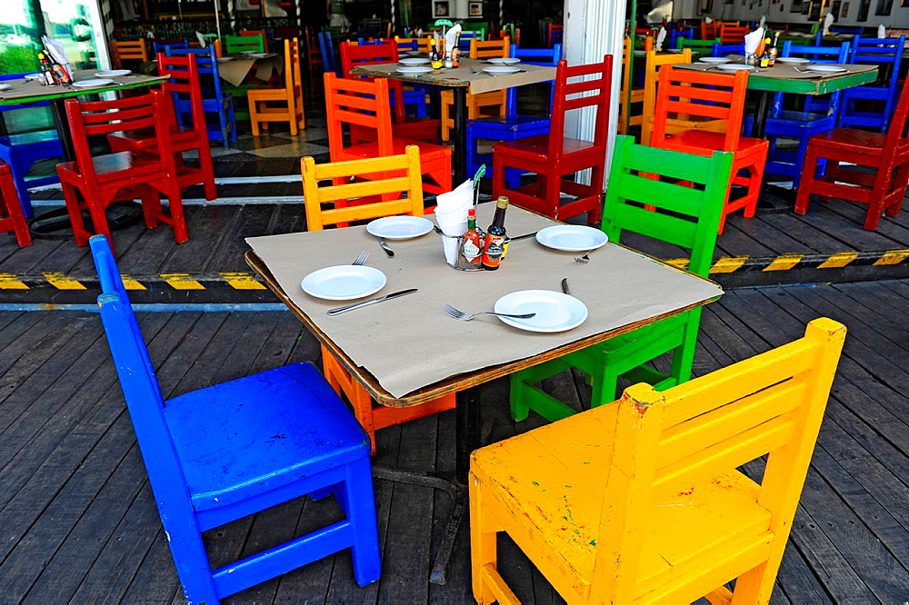 Colorful Restaurant Table Cozumel Mexico Cruise Ship Port