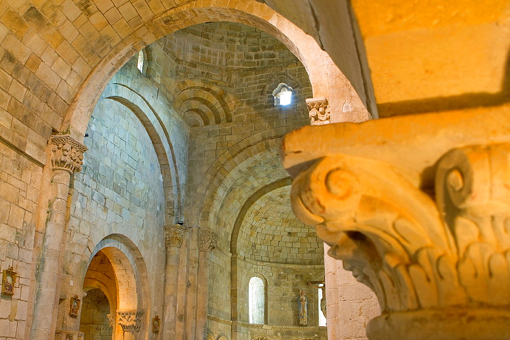 Detail in the inside of Santa Cruz collegiate, in Socobio, Castaneda  It is considered as one of the most important romanesque churches of Cantabria and declarated National Monument  Spain