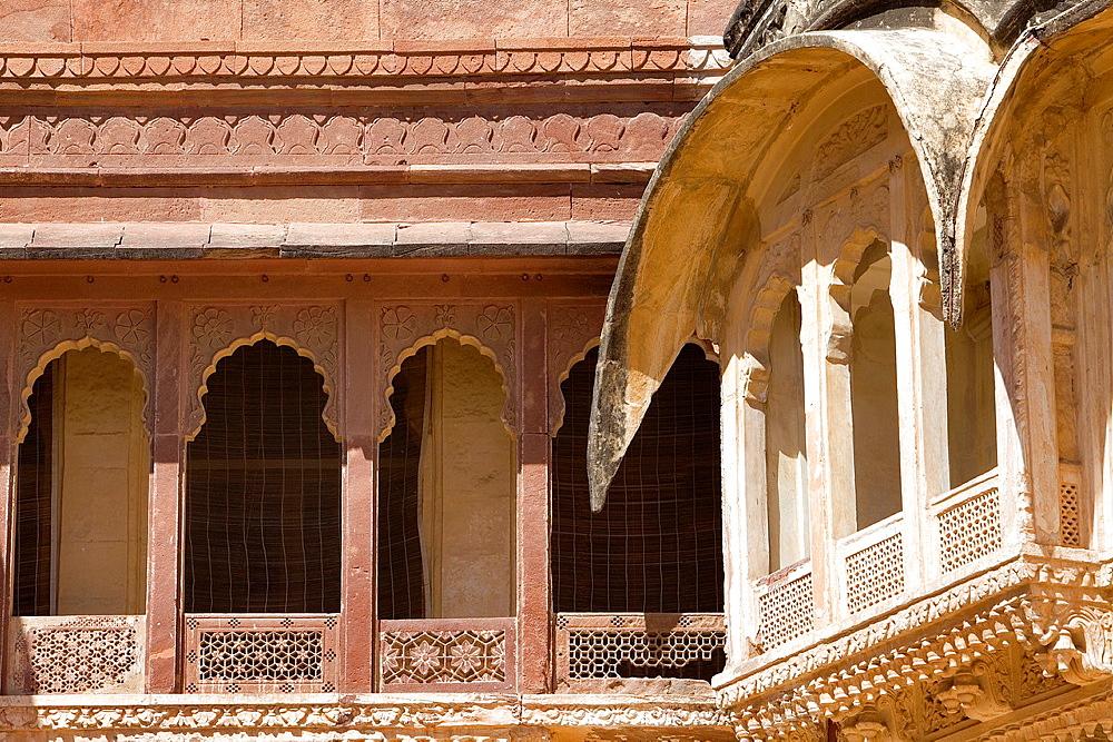 Mehrangarh Fort, exterior details inside of the fort,Jodhpur, Rajasthan, India
