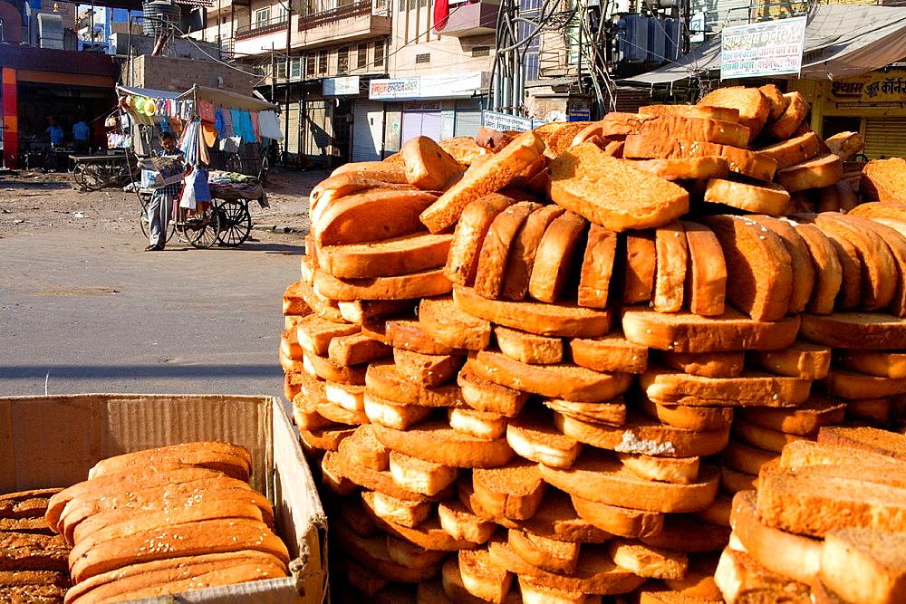 Stall of toast bread in Sardar Market,Jodhpur, Rajasthan, India