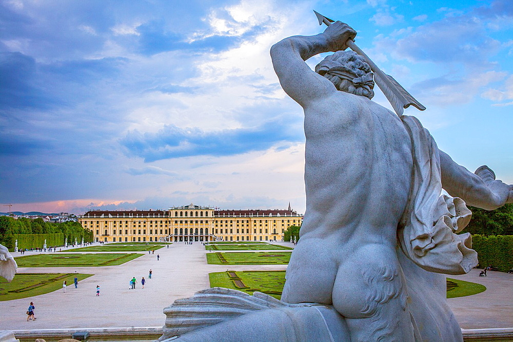 Schonbrunn Palace and gardens from Neptune fountain, Vienna, Austria, Europe