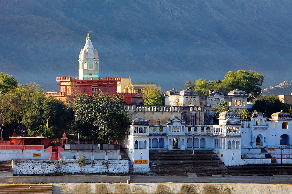 Temples along a lake, holy lake,pushkar, Rajasthan, india