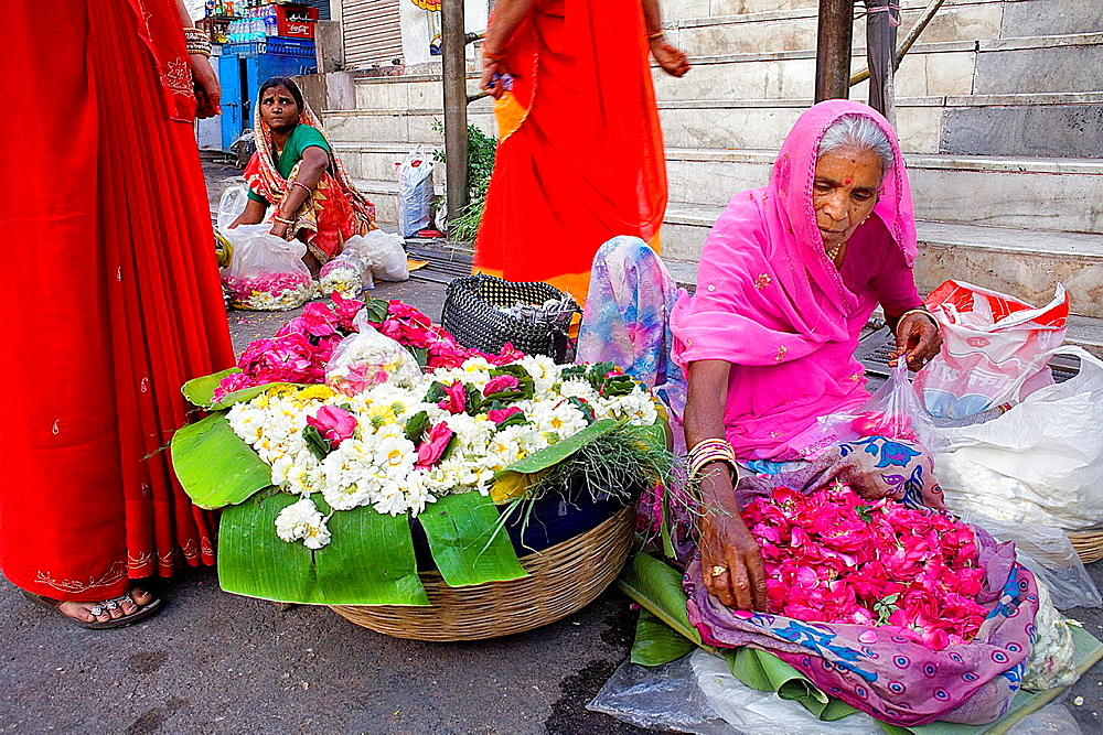 Flower sellers at the door of Jagdish Temple,Udaipur, Rajasthan, india