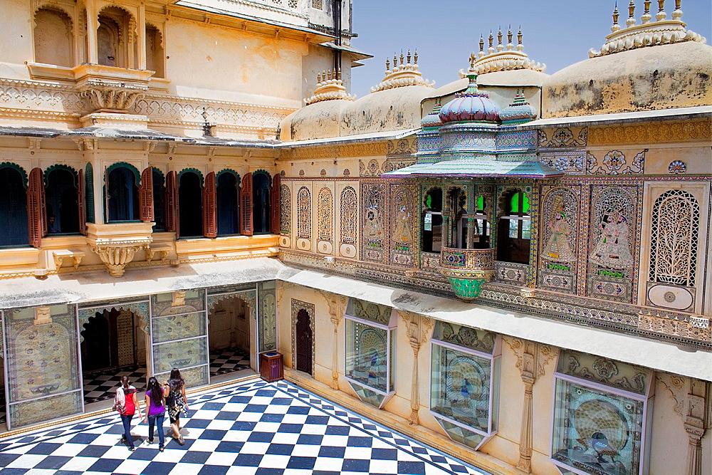 Peacock courtyard, City Palace,Udaipur, Rajasthan, india