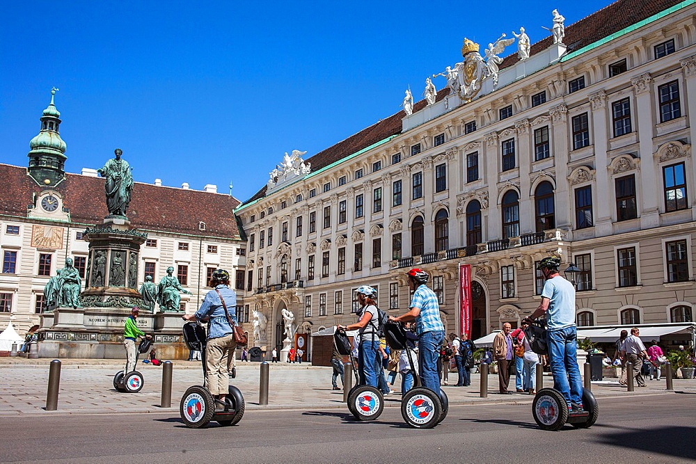 Tourist on Segway in Hofburg Imperial Palace,Vienna, Austria, Europe