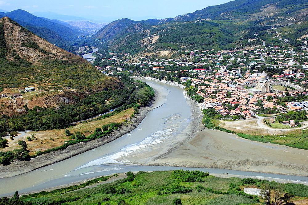 Confluence of the Mtkvari and Aragvi rivers, Mtskheta, Mtskheta-Mtianeti, Georgia
