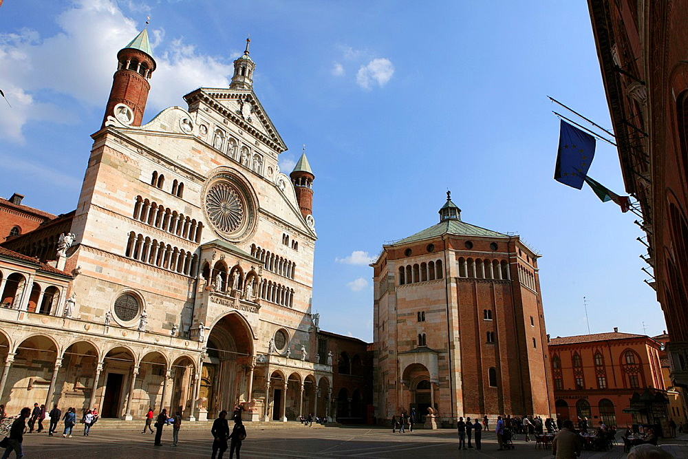 The Cathedral and the Baptistery of Cremona, Italy