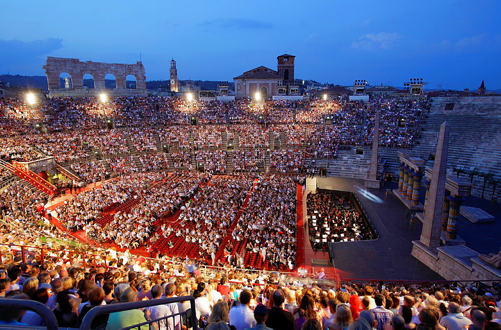The Arena during the opera performance, Verona, Italy