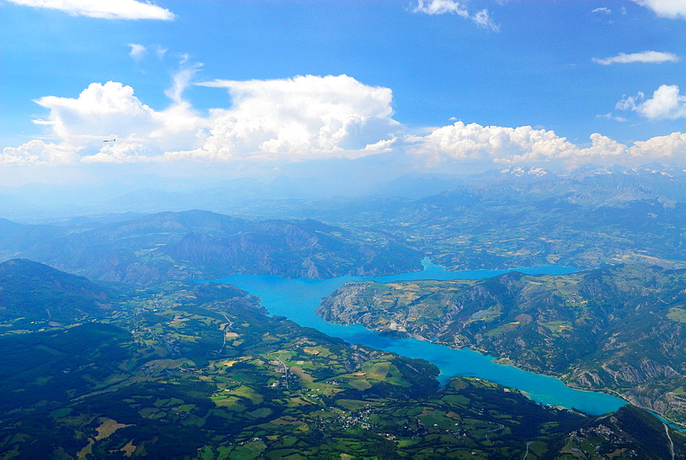 Aerial view of Serre Poncon lake, St Vincent les forts, Alpes de Haute Provence, France