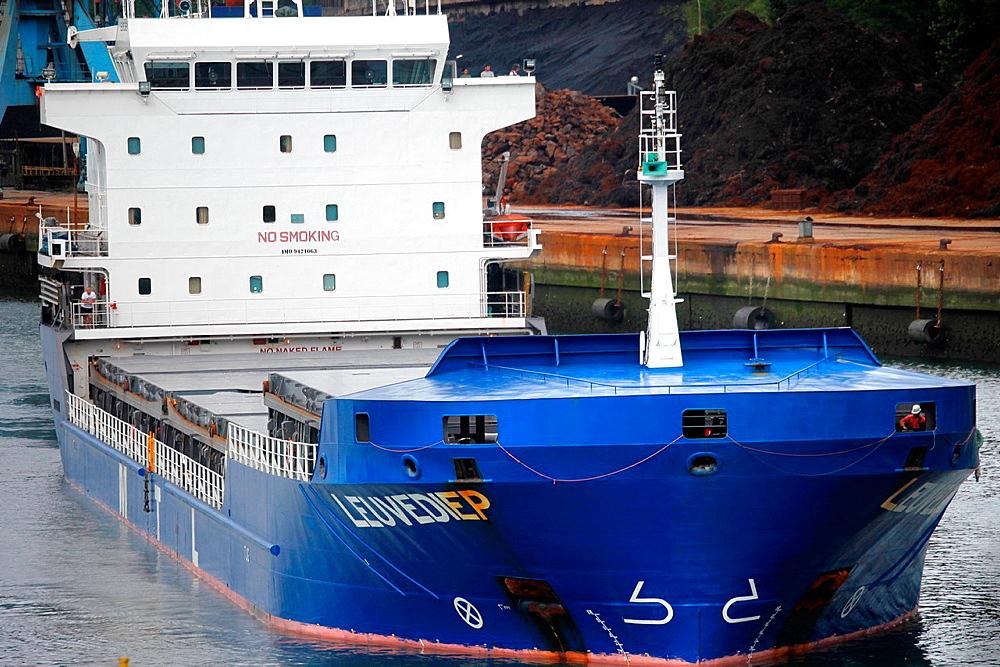 Cargo ship, Pasajes Port, Gipuzkoa, Basque Country, Spain