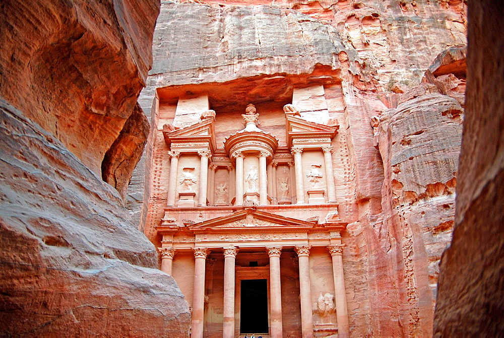 The Siq-main entrance to the ancient city of Petra in southern Jordan