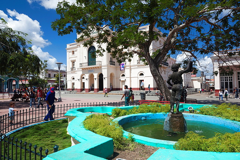 Cuba, Santa Clara Province, Santa Clara, Parque Vidal park and Teatro La Caridad theater