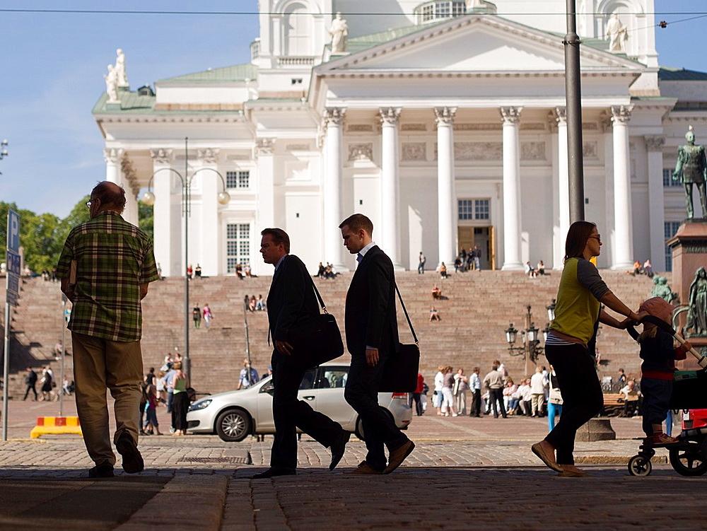 Pedestrians in Helsinki, Finland