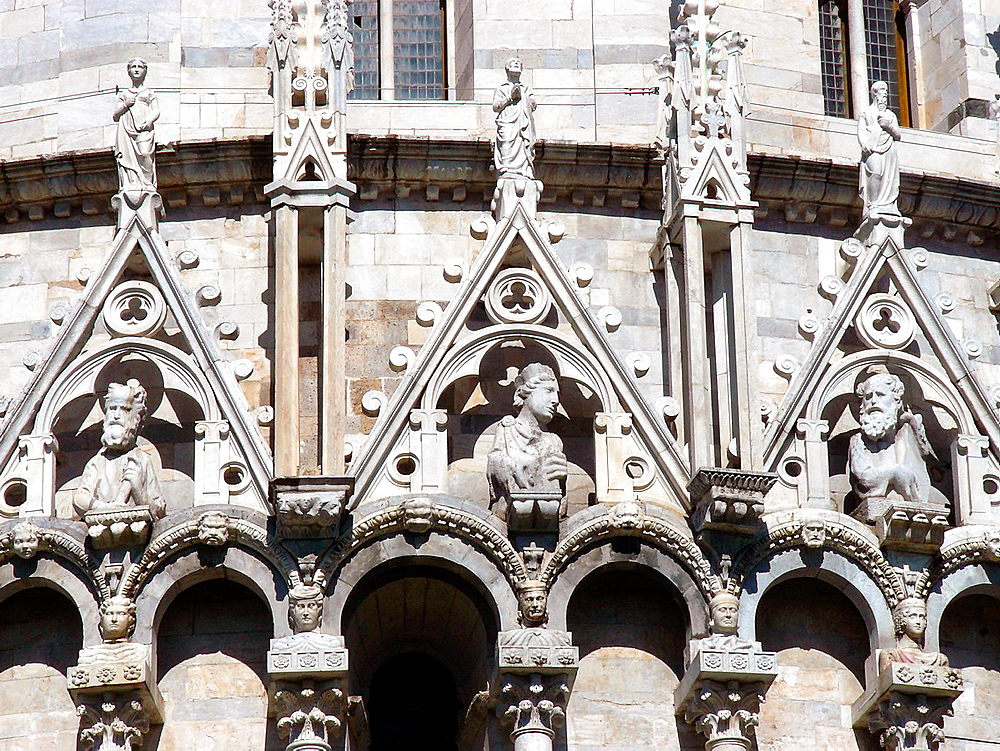 Pisa Italy  Architectural detail of the exterior of the Baptistery in the Piazza dei Miracoli in Pisa