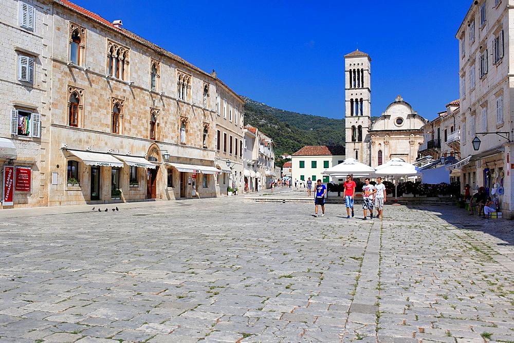 Central square Pjaca, city of Hvar, Island of Hvar, Dalmatian coast, Croatia