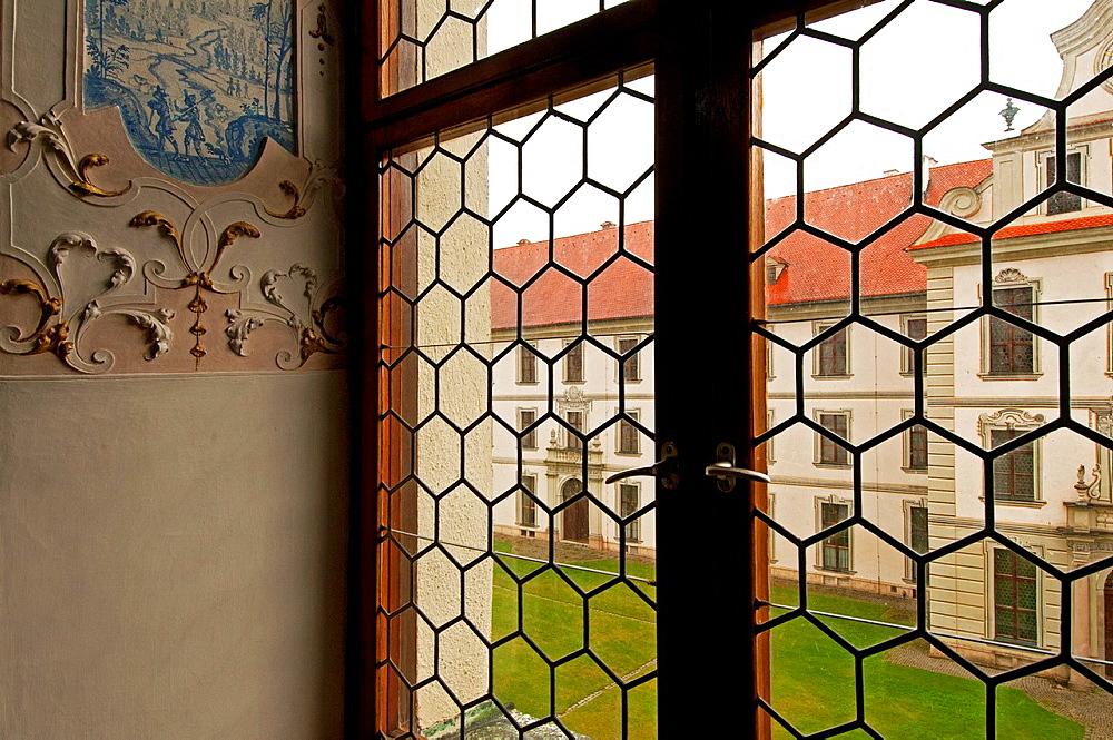 Ottobeuren, Bavaria, Southern Germany, Benedictine monastery courtyard seen from inside