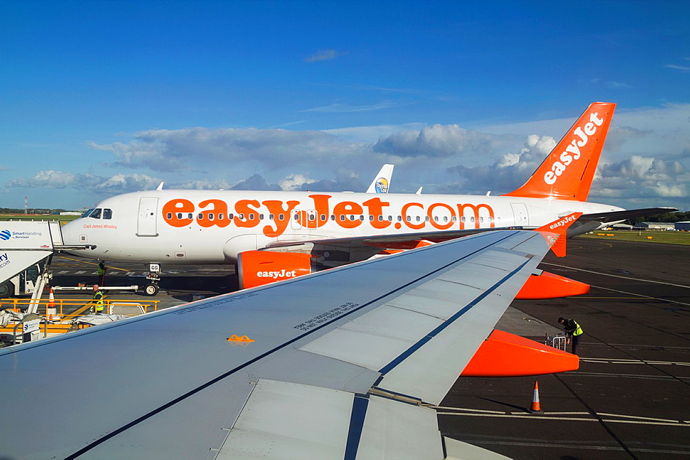 Easyjet airplanes at airport