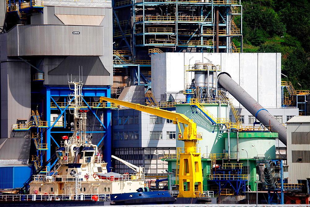 Thermal power plant, Pasajes Port, Gipuzkoa, Basque Country, Spain