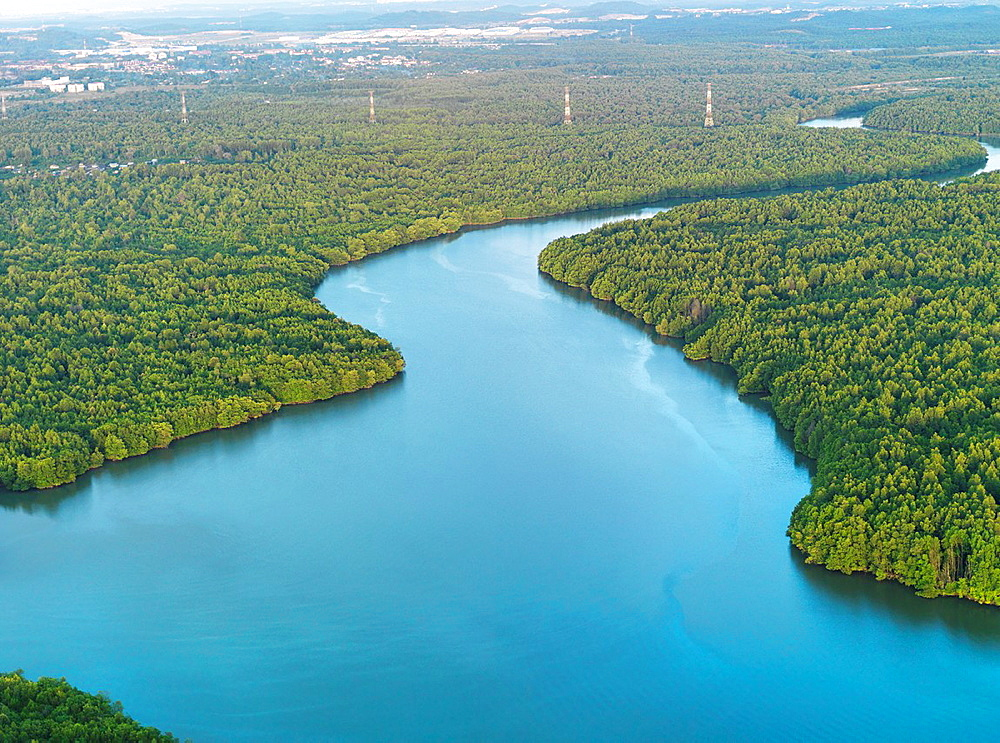 Aerial image of a bright blue tributary through the Johor jungle