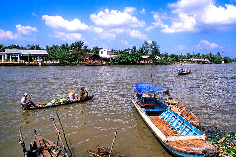 Primitive Boats Trading on River Vietnam Mekong Delta