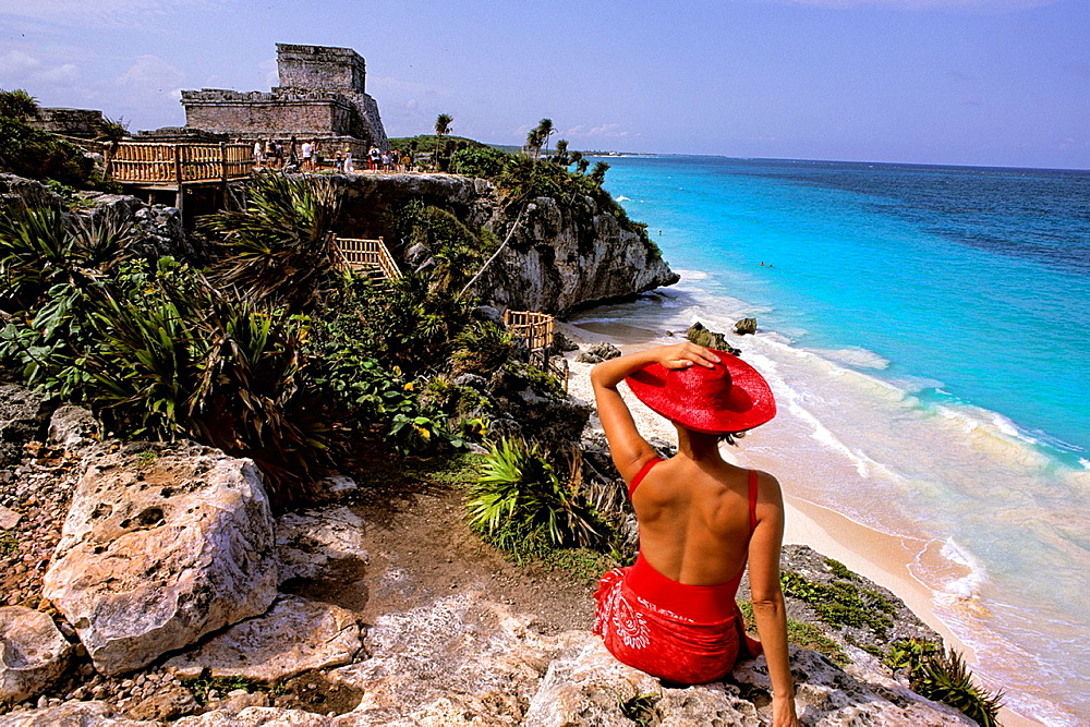 Colorful Hispanic Tourist at Tulum Ruins at Riviera Maya Mexico