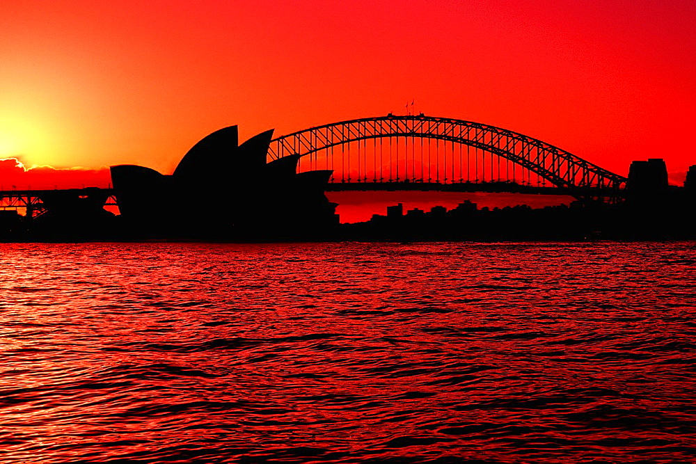 Colorful night time graphic sunset of Sydney Harbour Bridge and Opera House in New South Wales Australia