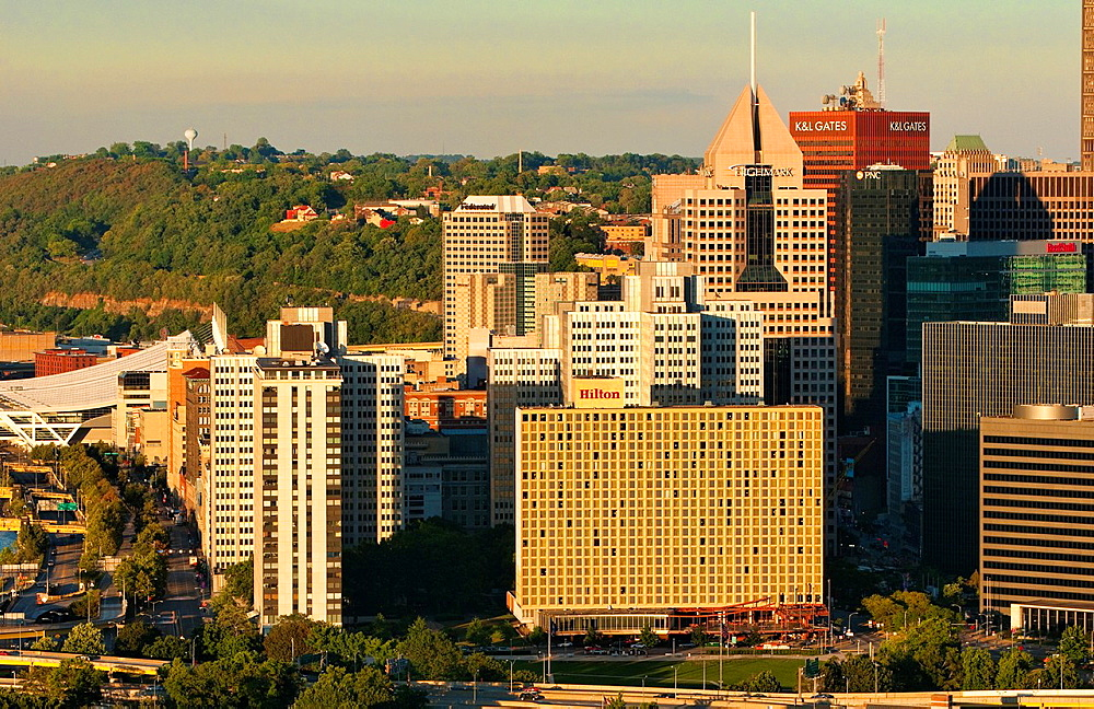 Pittsburgh Pennsylvania and the Three Rivers taken from Mt Washington showing closeup of skyline and wonderful image of the city in PA