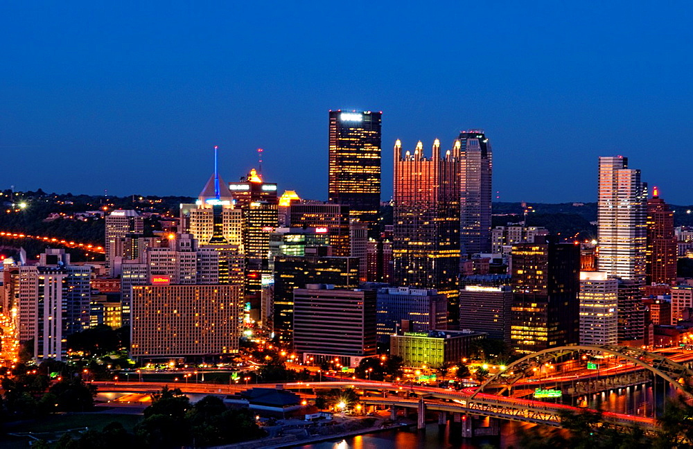 Pittsburgh Pennsylvania and the Three Rivers taken from Mt Washington showqing skyline and wonderful night image of the city in PA