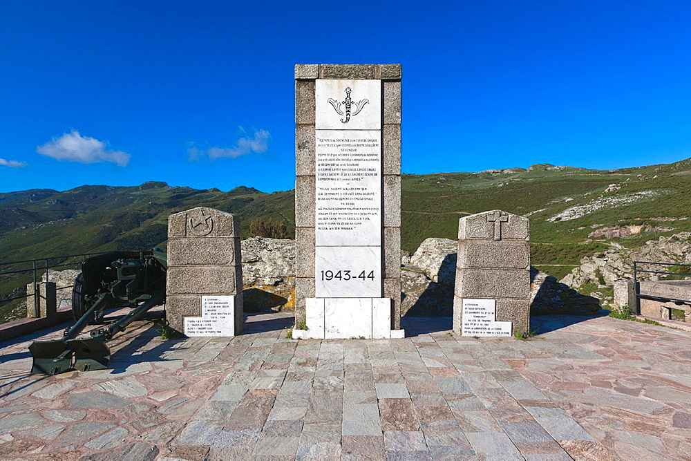 France, Corsica, Haute-Corse Department, Le Nebbio, Patrimonio, Col de Teghime pass, Monument to the Liberation of Corsica in 1943, dedicated to Free French soldiers from North Africa