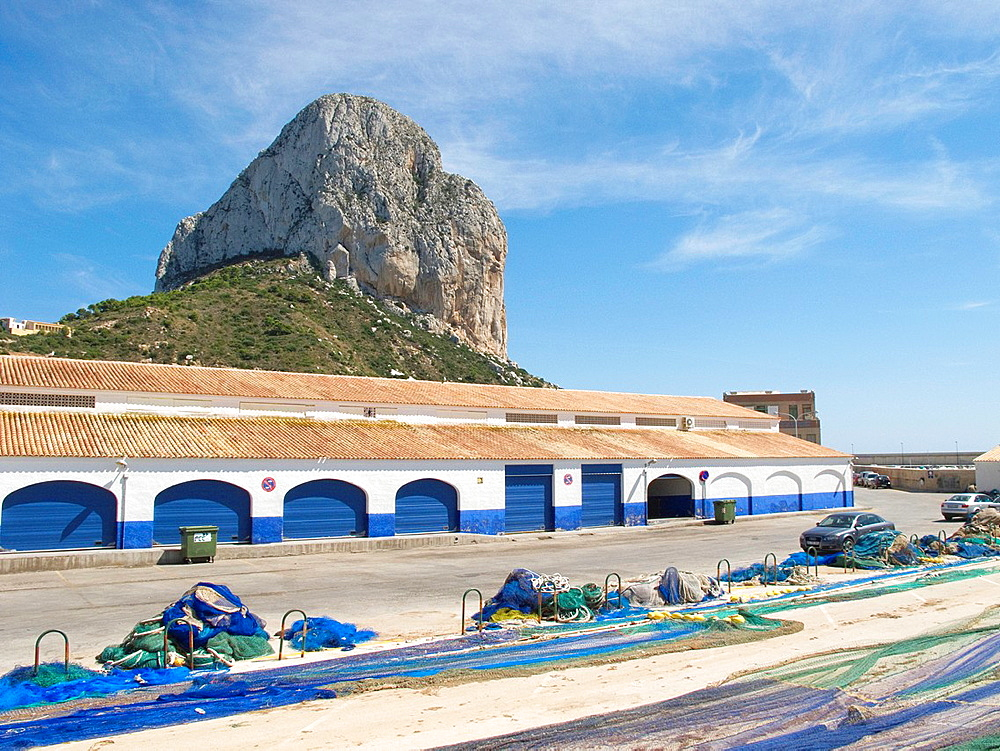 Ifach and fish market Calpe Alicante Spain