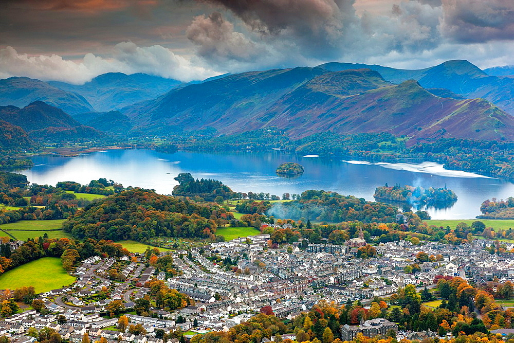 View over Keswick and Derwent Water from Latrigg summit, Lake District National Park, Cumbria, England, UK, Europe