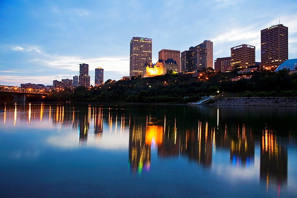 Edmonton skyline reflected in North Saskatchewan River, Edmonton, Canada