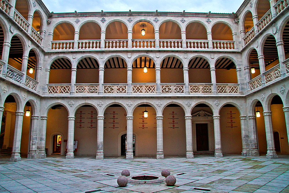 Cloister Of Palacio De Santa Cruz Renaissance Architecture Valladolid Castille And Leon
