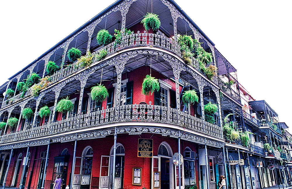 Beautiful architecture and iron railings in the French Quarter in wonderful city of New Orleans Louisiana NOLA USA - 817-412276