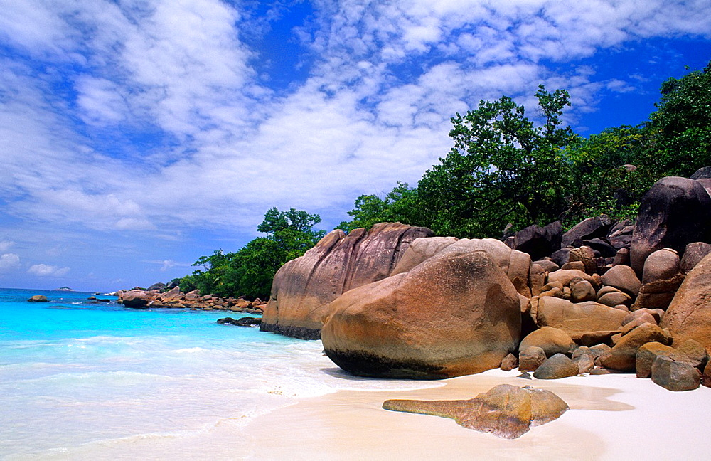 Beautiful perfect scene of the famous rocks and beach at La Digue in the Seychelle Islands of Africa
