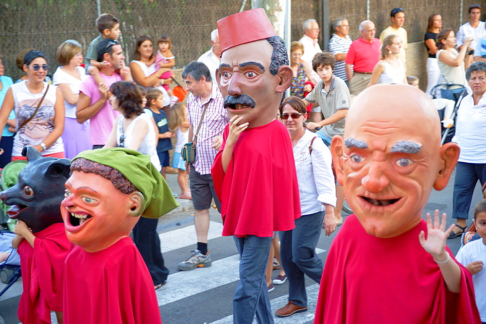 Son Sardina, party giants and big heads Palma Mallorca Balearic Islands Spain