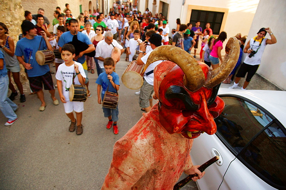 Dimonis, devils-, during the festival of Sant Joan degollat, Sant Joan, ??Mallorca Balearic Islands Spain