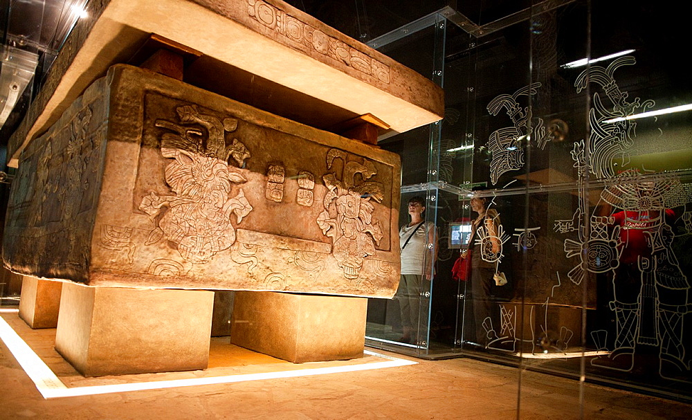 Pakal tomb in the museum of Palenque, Chiapas, Mexico